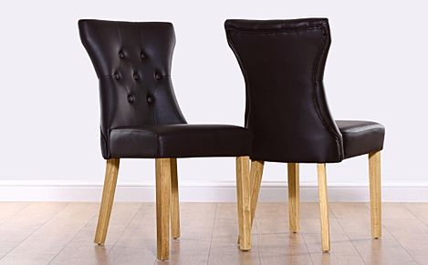 Bewley Dark Brown Leather Button Back Dining Chair (Oak Leg)