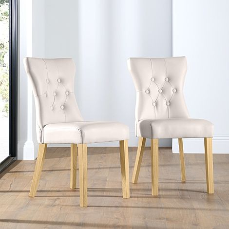Bewley Ivory Leather Button Back Dining Chair Oak Leg