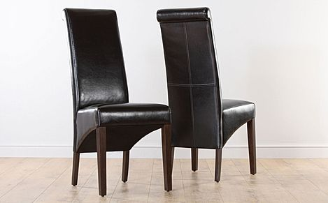 Boston Dark Brown Leather Dining Chair (Wenge Leg)