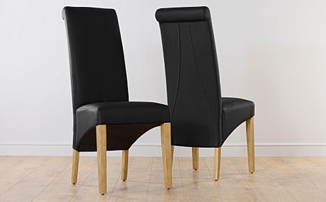 Richmond Black Leather Dining Chair Oak Leg
