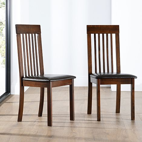 Oxford Dark Wood Dining Chair (Brown Leather Seat Pad)