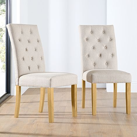 Hatfield Fabric Button Back Dining Chair Oatmeal (Oak Leg)