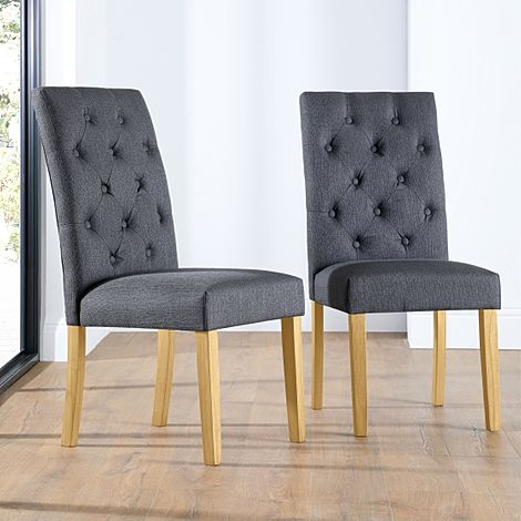 Hatfield Slate Fabric Button Back Dining Chair (Oak Leg)