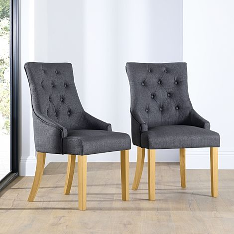 Duke Slate Fabric Button Back Dining Chair (Oak Leg)