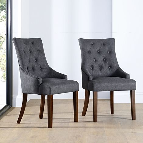 Duke Slate Fabric Button Back Dining Chair Dark Leg
