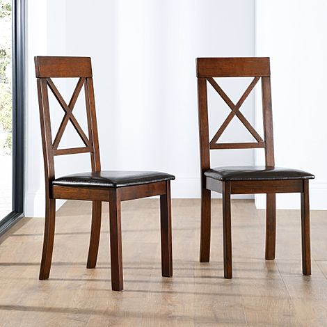 Kendal Dark Wood Dining Chair (Brown Leather Seat Pad)