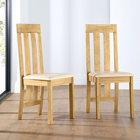 Chester Oak Dining Chair (Ivory Leather Seat Pad)