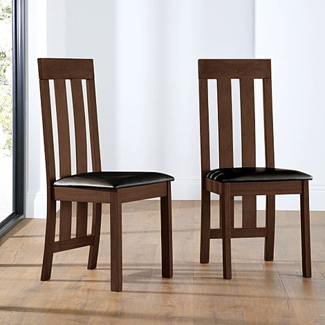 Chester Dark Wood Dining Chair (Brown Leather Seat Pad)