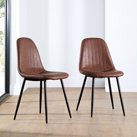 Brooklyn Leather Dining Chair Tan (Black Leg)