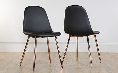 Brooklyn Leather Dining Chair Black (Copper Leg)
