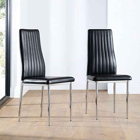 Leon Leather Dining Chair Black (Chrome Leg)