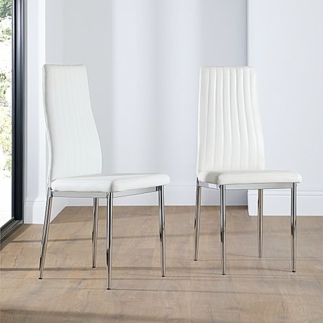 Leon White Leather Dining Chair Chrome Leg