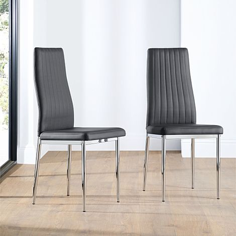 Leon Grey Leather Dining Chair (Chrome Leg)