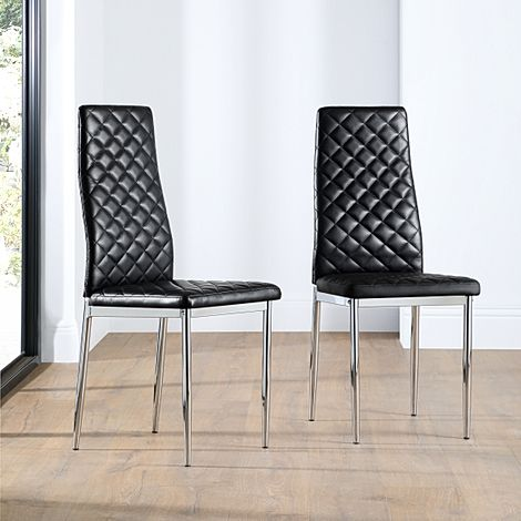 Renzo Black Leather Dining Chair (Chrome Leg)