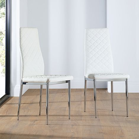 Renzo White Leather Dining Chair (Chrome Leg)