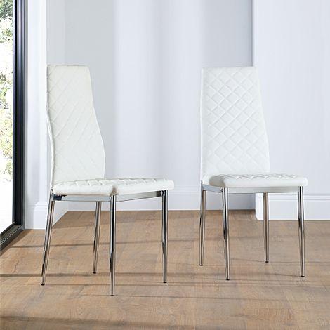 Renzo White Leather Dining Chair (Chrome Leg)