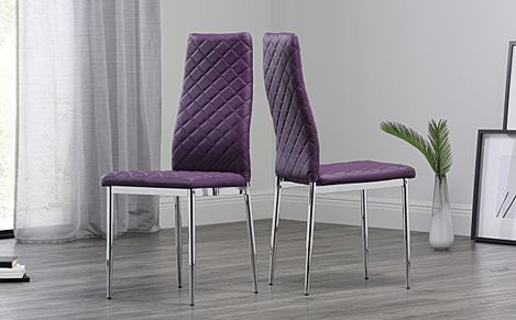Renzo Leather Dining Chair Purple (Chrome Leg)