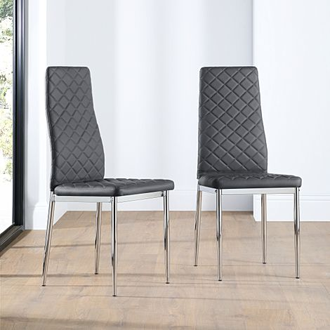 Renzo Grey Leather Dining Chair (Chrome Leg)