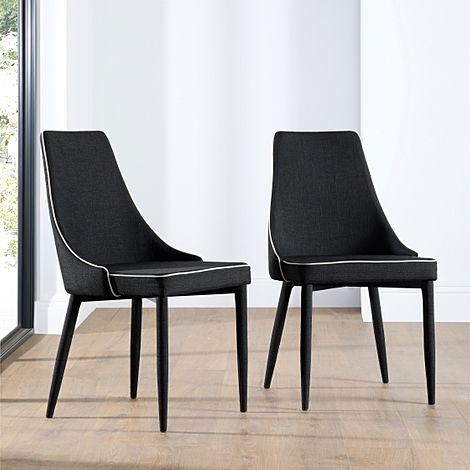 Modena Fabric Dining Chair Black (Black Leg)