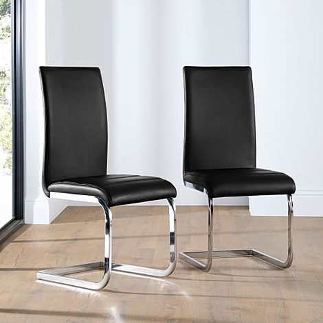 Perth Black Leather Dining Chair (Chrome Leg)