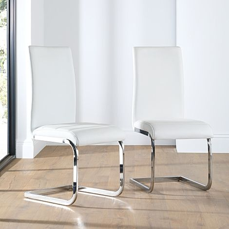 Perth White Leather Dining Chair Chrome Leg
