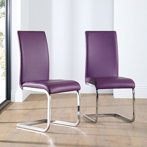 Perth Purple Leather Dining Chair Chrome Leg