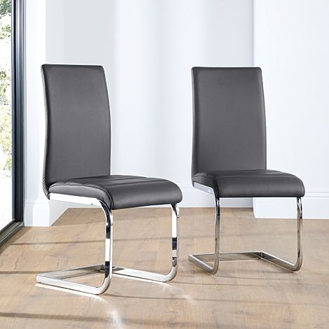 Perth Grey Leather Dining Chair Chrome Leg