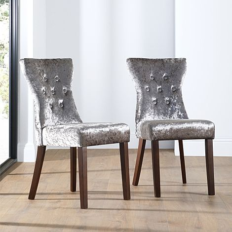 Bewley Silver Velvet Button Back Dining Chair Dark Leg