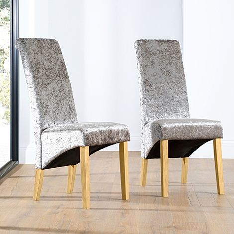 Boston Silver Velvet Dining Chair (Oak Leg)