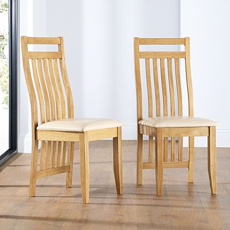 Bali Oak Dining Chair (Ivory Leather Seat Pad)