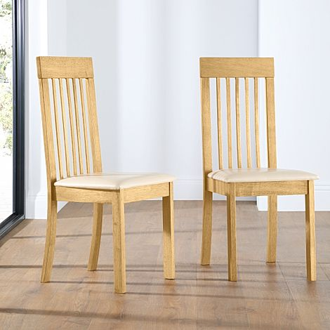 Oxford Oak Dining Chair (Ivory Leather Seat Pad)