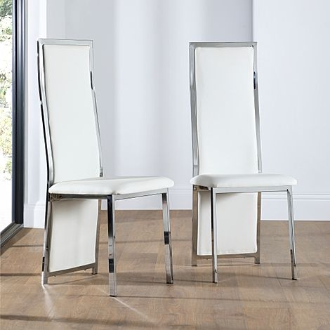 Celeste White Leather and Chrome Dining Chair