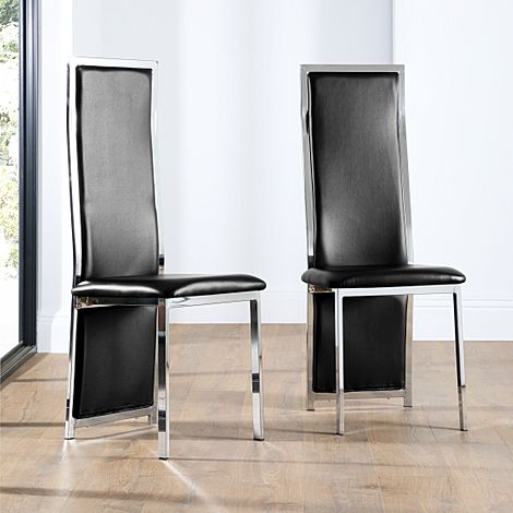 Celeste Black Leather and Chrome Dining Chair