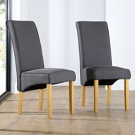 Stamford Slate Fabric Dining Chair Oak Leg