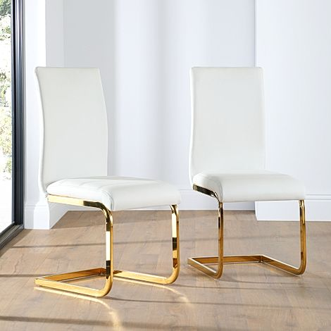 Perth Leather Dining Chair White (Gold Leg)