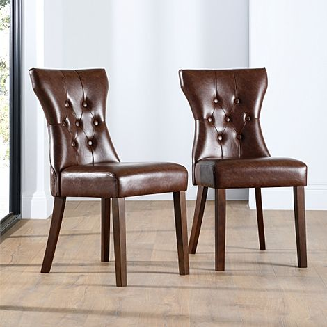 Bewley Leather Button Back Dining Chair Club Brown (Dark Leg)