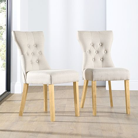 Bewley Oatmeal Fabric Button Back Dining Chair (Oak Leg)