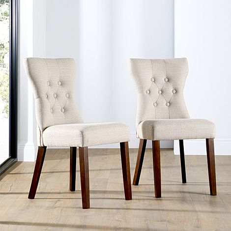 Bewley Fabric Button Back Dining Chair Oatmeal (Dark Leg)