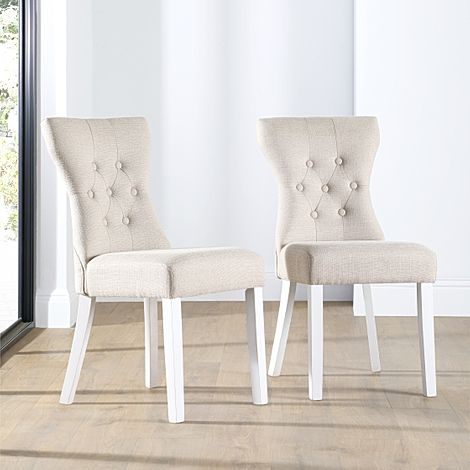 Bewley Oatmeal Fabric Button Back Dining Chair (White Leg)