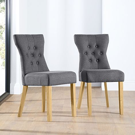 Bewley Slate Fabric Button Back Dining Chair Oak Leg