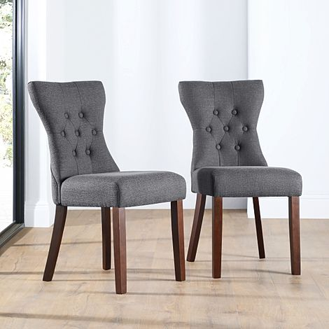 Bewley Slate Fabric Button Back Dining Chair Dark Leg