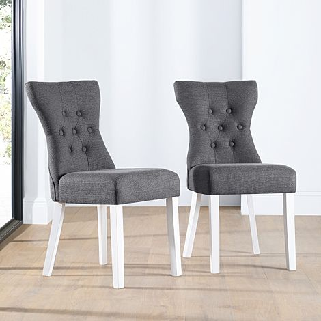 Bewley Slate Fabric Button Back Dining Chair (White Leg)