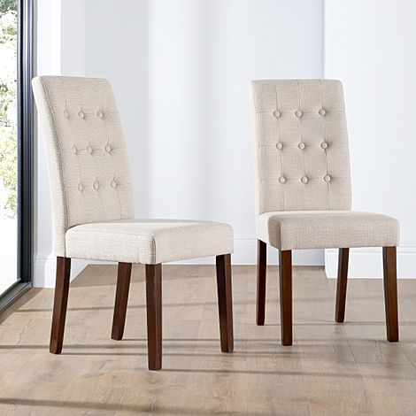 Regent Oatmeal Fabric Button Back Dining Chair (Dark Leg)