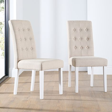 Regent Oatmeal Fabric Button Back Dining Chair White Leg
