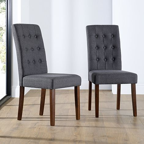 Regent Slate Fabric Button Back Dining Chair Dark Leg