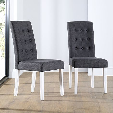 Regent Fabric Button Back Dining Chair Slate (White Leg)