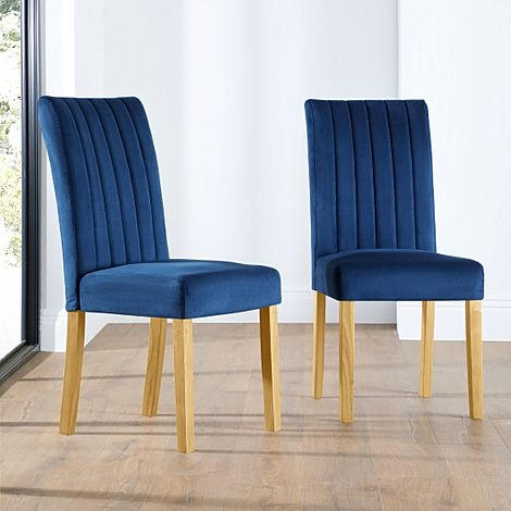 Salisbury Velvet Dining Chair Blue (Oak Leg)