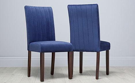 Salisbury Blue Velvet Dining Chair (Dark Leg)