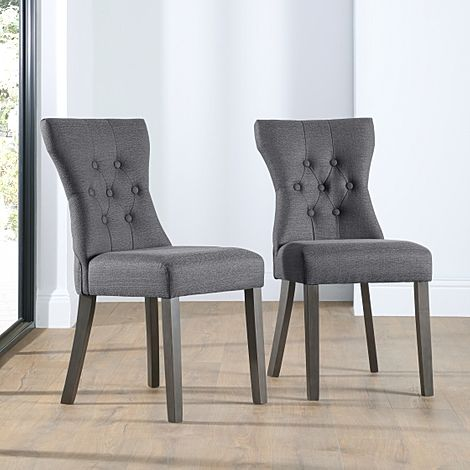Bewley Slate Fabric Button Back Dining Chair (Grey Leg)