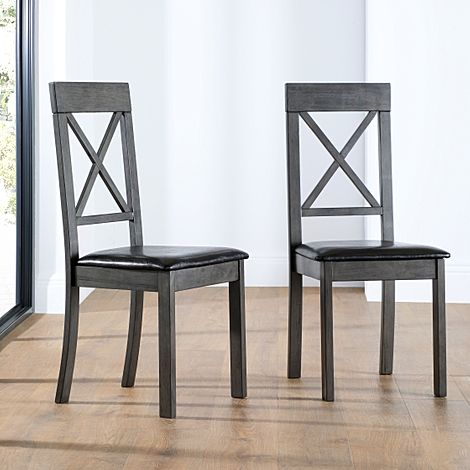 Kendal Dining Chair Grey (Black Seat Pad)